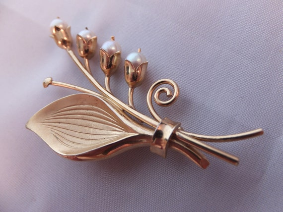 RESERVED FOR YOKO Winard Lily of the Valley Brooch