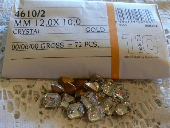 Vintage Swarovski  Crystal Clear Rhinestone Foiled Glass Jewels 12x10 (4) Octagon