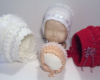 Crochet Baby Bonnet with Frills, Bobbles, Flowers & Trims Included INSTANT DOWNLOAD PDF from Thomasina Cummings Designs