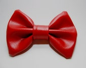 Red faux leather hair bow or bow tie for men or women