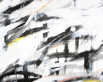 After Kline 1, 10-17-11 (abstract expressionist painting, black / cream / white / abstract)