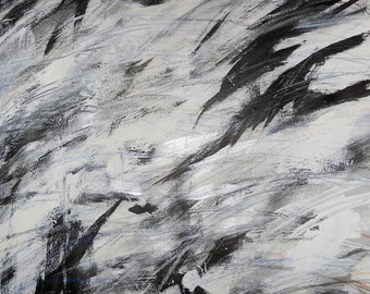 After Kline 6, 11-17-11, black & white abstract expressionist painting