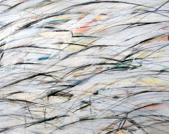 11-20-11, After Twombly (LARGE Black, white, red, blue abstract)