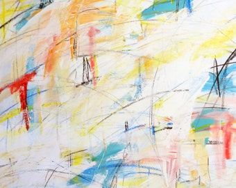 New Day, 2-20-12  (abstract painting, white, gold, yellow, blue, red)