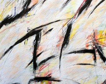 3-12-12 (abstract painting, black., white, yellow, orange, green)