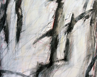 Untitled 5-22-12, (abstract painting, black, white, cream, silver, gray)