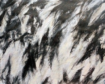 6-23-12 (LARGE abstract painting, black, cream, white, silver, gray)