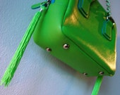 Customized  bright neon green and blue handbag with neon green tassles and chains