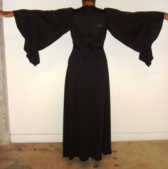 Vintage women long black empire waist dress with bat sleeves ON SALE