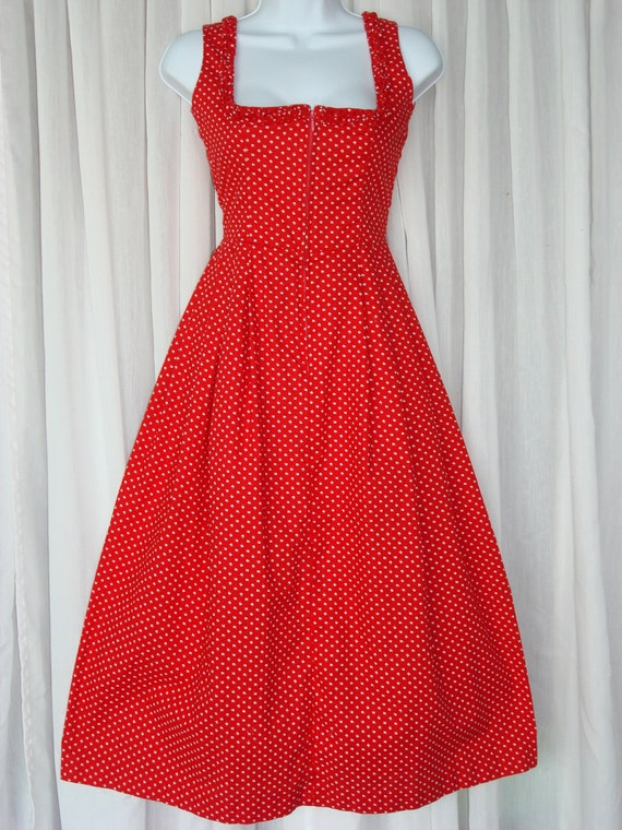 Vintage 1960s Brigitte Bardot red and white summer dress with ruffles size 40 ON SALE