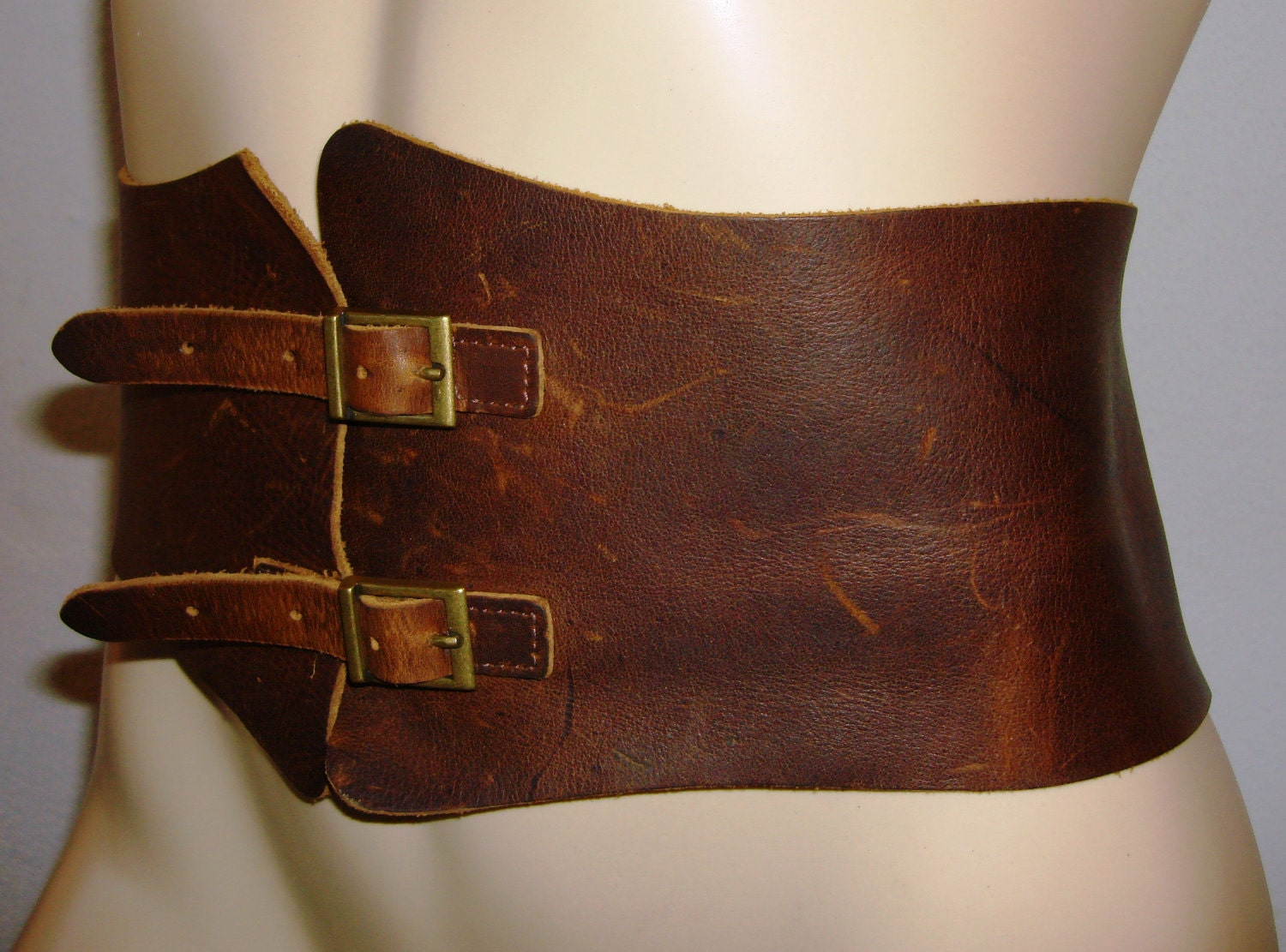 vintage women brown leather belt corsetvery sexy by