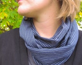 Nautical navy with white pin stripes jersey infinity scarf