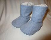 Blue Chervon Tall Baby Boots