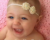 Ivory Flower Bitty Band-Christening headband-Baptism headband-flower girl headband-newborn ivory headband