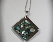 Nickel Silver & Abalone NECKLACE on a Silver Coated Ball Chain (HANDMADE)