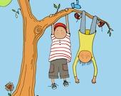 art Print nursery art kids boys wall decor decoration childrens child baby wall art art for kids boys climbing trees fun sports