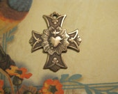 The Sacred Heart Bronze Rosary Cross