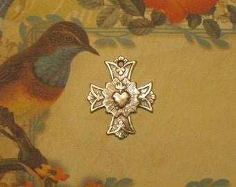 Sterling Silver Sacred Heart Cross Pendant