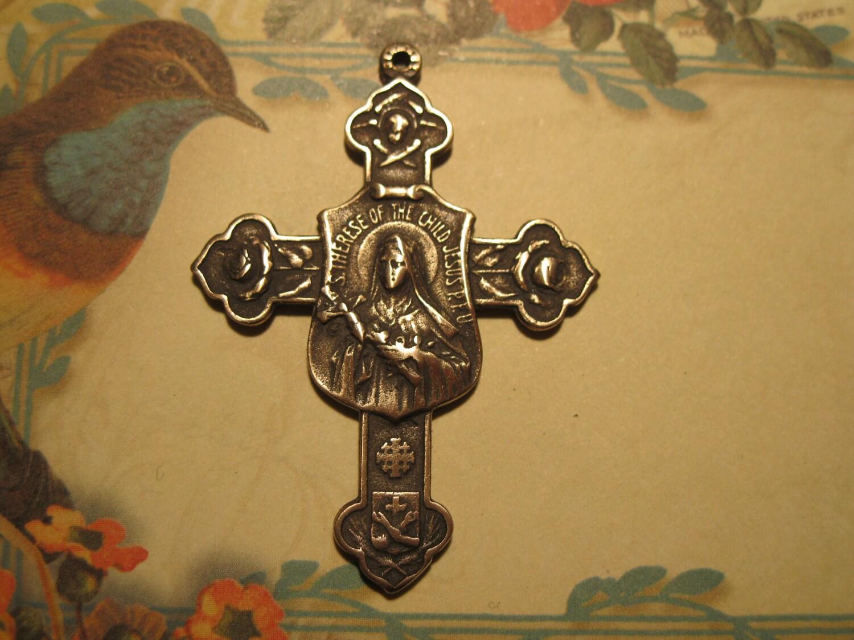 St Theresa Cross Little Flower Bronze Religious