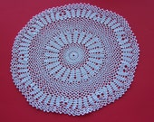 Vintage Handmade Crochet Doily, White Cotton Thread, Delicate Circle Design, 1980's Doily - Free Shipping - REDUCED PRICE