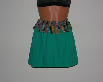 Upcycled, Recycled T Shirt, Ladies Teal Mini Skirt with Multi Colored Rag Trim - REDUCED PRICE