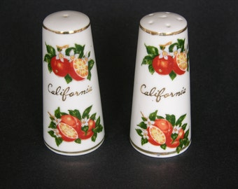 Vintage Souvenir California Ceramic Salt And Pepper Shakers, Angelus, Made In Japan, Collectable Kitchen Decor - REDUCED PRICE