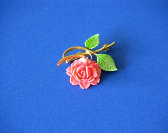 Vintage 1970's Rose Brooch / Pin ( JJ ) Jonette Jewelry Co. Goldtone With Green Leaves, Gift Item, Collectable Jewelry