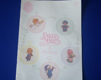 Vintage 1989 Precious Moments In Miniature - Gloria And Pat Designs, Counted Cross Stitch Pattern Chart Book - 18 Count