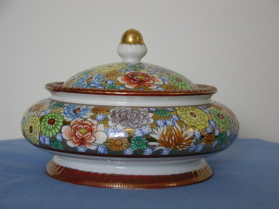 Vintage Ceramic Oriental Decorative Bowl With Lid, Made In Japan