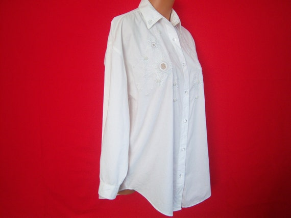 On Sale - Vintage Ladies Long Sleeve Blouse, Priority, Tiny Pearl And Clear Beads, Size Medium, 1990, Gift Item  - REDUCED PRICE
