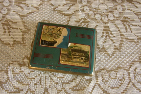 Vintage 1940's Cigarette Case, Dark Turquoise With Pictures Of Japanese Scenes - REDUCED PRICE