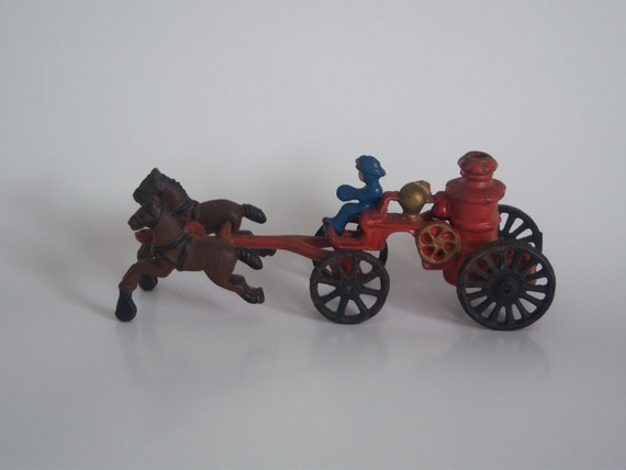 Antique Cast Iron Horse Drawn Pumper Fire Engine Toy, Collectable Toy, Home Decor, Gift Item, Circa: 1920's - 30's