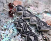 Hand Carved Elk Horn Earrings with Red Glass Beads