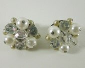 50s Faux Pearl and Faceted Bead Wired Clip On Earrings from Japan
