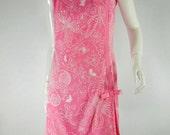 60s Shift Dress. Bubblegum Pink. Butterfly Print - sm