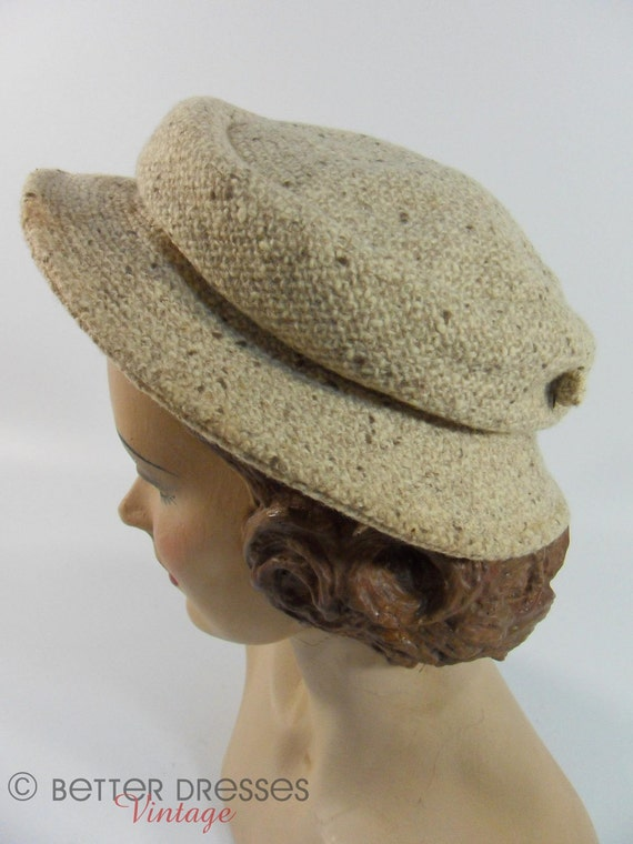 Vintage 40s, 50s, 60s Hat. Oatmeal Wool Tweed by Miss Bea Mack - TREASURY ITEM