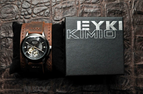Men's Open Heart Watch - SALE - Worldwide Free Shipping - Mechanical Steampunk Leather Watch