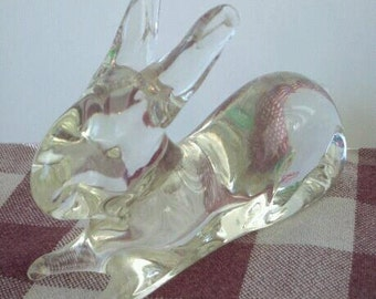 Vintage Glass Rabbit Bunny Figurine Easter Bunny GLASS BUNNy FIGURINE antique rabbit Easter gift Easter bunny collectable glass crystal