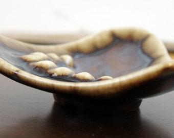 Ashtray Handmade Brown and Cream