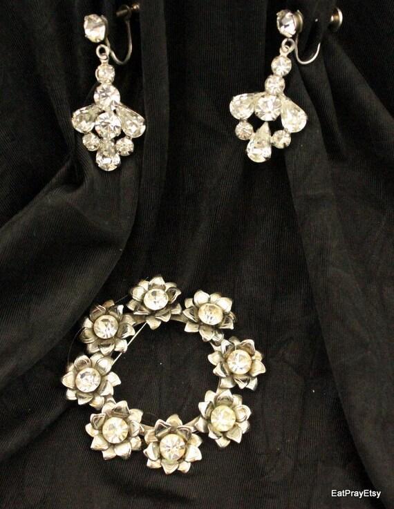 Vintage Rhinestone Earrings and Pin Broach Screw on Earrings