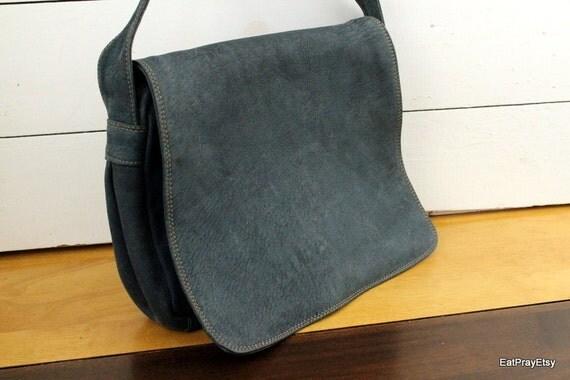 Vintage  Blue Leather Messenger Bag