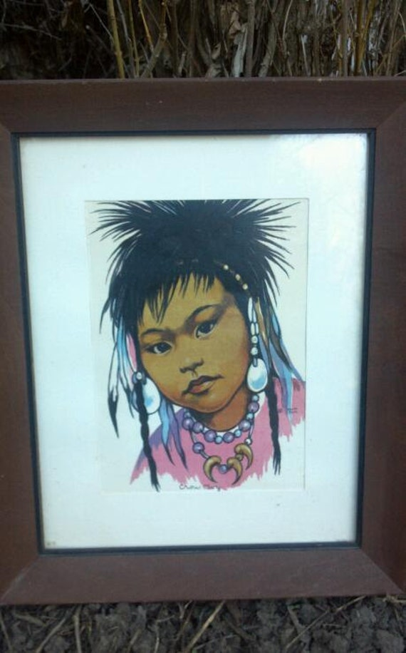 Vintage American Indian lithograph Painting Crow Boy Signed