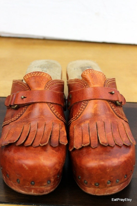 Connie 1970 Wooden Clogs Studdded  heels shoes Brazil 7