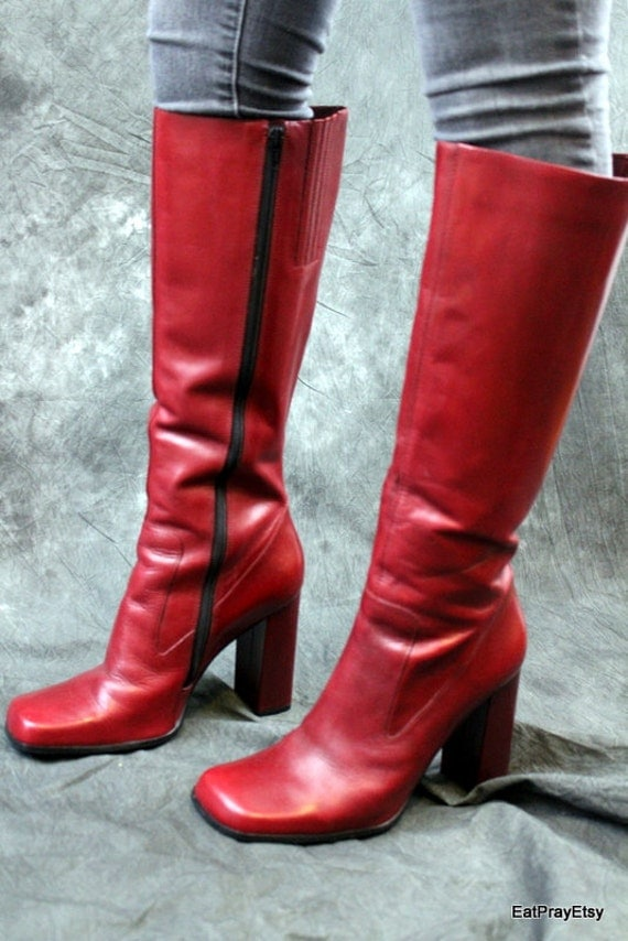Tall Red leather Womens Boots Brazil Very High Heel Size 10