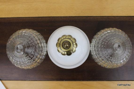 Vintage Ceiling light Globe Set  White Glass Globe Hobnail glass globe