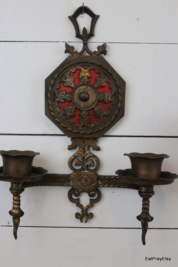Ornate Brass Wall Sconces Candle Holders Victorian Gothic