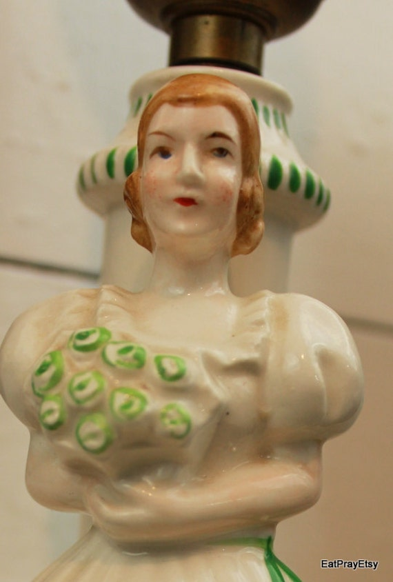 Victorian Firgurine lamp Lady with Flowers Green Trim