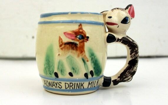 Vintage Bambi Fawn Mug Drink Milk Mug
