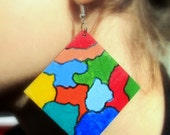 Handpainted oversized  wood EARRINGS in multicolored patches OOAK