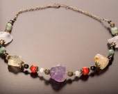 Chunky rocky quartz NECKLACE in bright organic colors OOAK